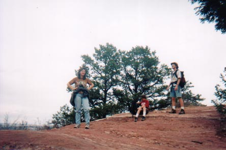Committee members Terri, Rioux and Travers Jordan take a break at Picnic Rock - 2002.