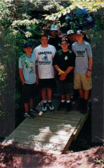 Boy Scout troop 127 with their new bridge - 2000