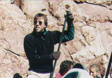 ITC regular Steve Brasen helps chip out a wider trail across a rock face in Section 16 - 1999